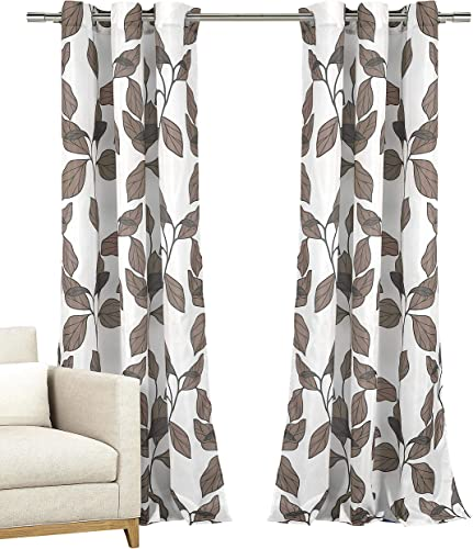 Home Maison Set of Two 2 Window Curtains Grommeted Panels with White with Taupe Grey Modern Leaf Design, 110 x 84