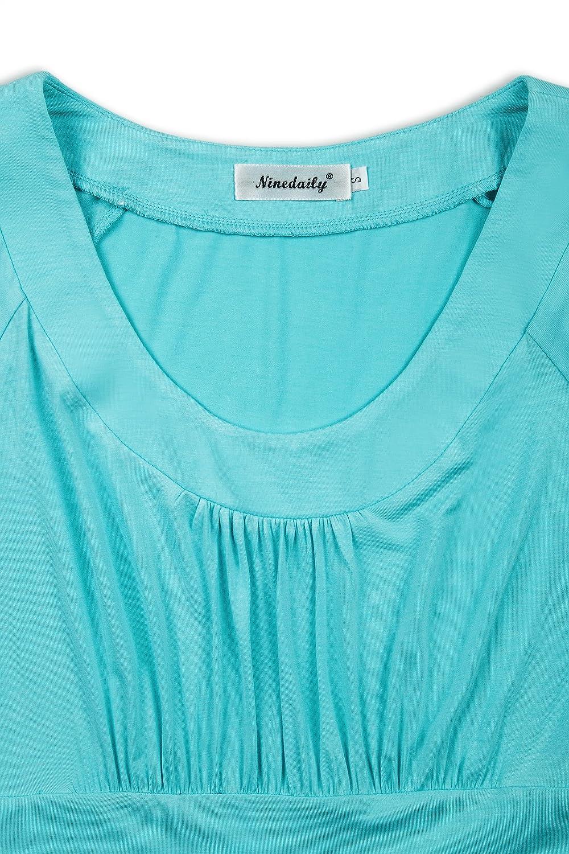 Ninedaily Women Summer Tee Short Sleeve T-Shirt Scoop Neck Long Tunic Tops