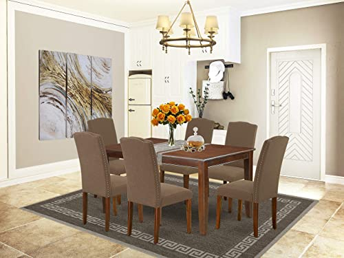East West Furniture 7-Pieces Dining Room Table Set