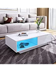 Modern RGB LED Light Coffee Tea Table with Storage Drawers & Shelvs High Gloss Living Room Furniture