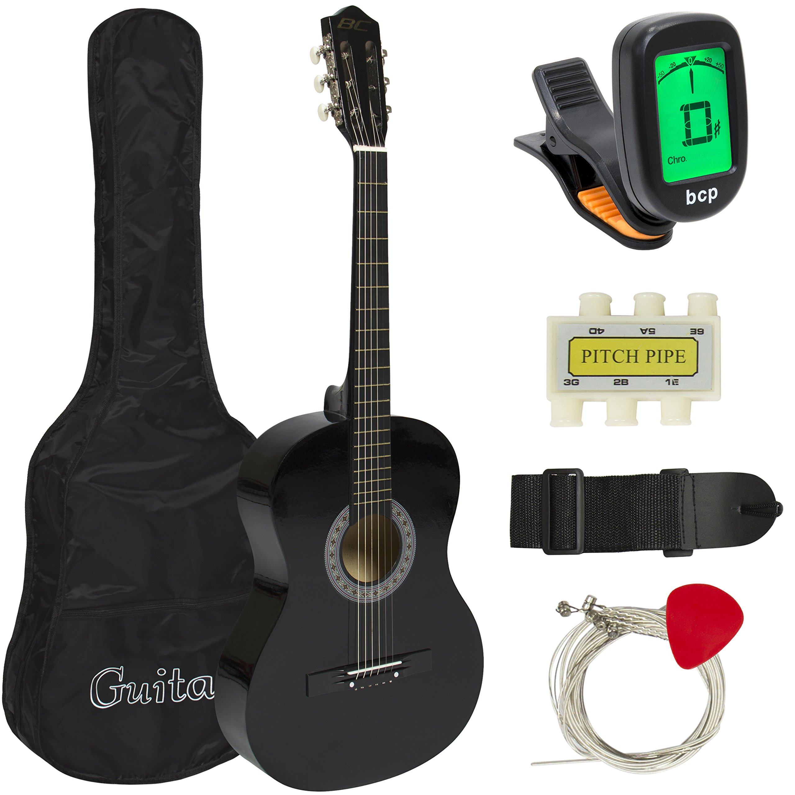 Best Choice Products 38in Beginner Acoustic Guitar Starter Kit w/ Case, Strap, Digital E-Tuner, Pick, Pitch Pipe, Strings - Black by Best Choice Products