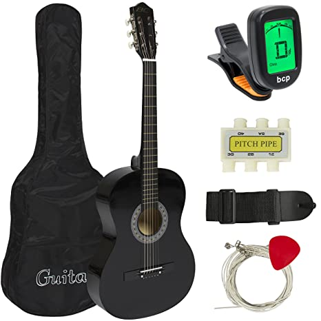 amazon com: best choice products 38in beginner acoustic guitar starter kit  w/ case, strap, digital e-tuner, pick, pitch pipe, strings - black: musical