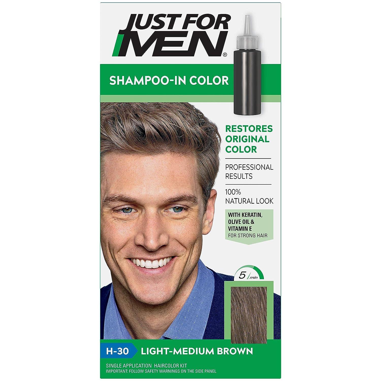 Just For Men Shampoo-In - Pelo para hombre, color marrón claro y mediano H-30