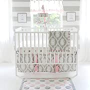 My Baby Sam Olivia Rose 3 Piece Crib Bedding Set, Pink/Gray