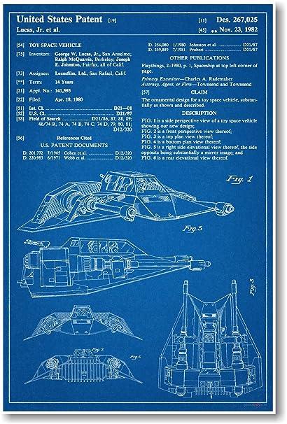 Amazon star wars snow speeder patent new famous invention star wars snow speeder patent new famous invention blueprint poster malvernweather Choice Image