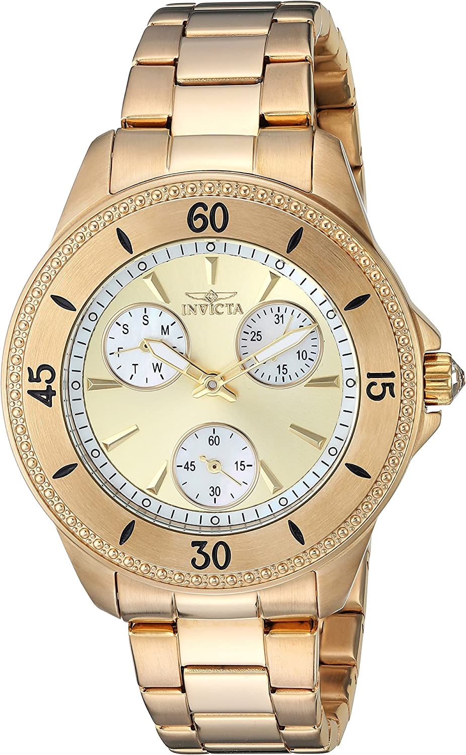 Invicta Women s Angel Quartz Watch with Stainless-Steel Strap, Gold, 8 Model 22969