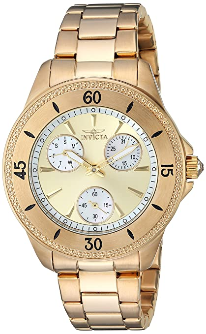 Amazon.com: Invicta Womens Angel Quartz Watch with Stainless-Steel Strap, Gold, 8 (Model: 22969: Invicta: Watches
