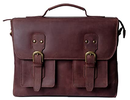 94d530b87cf9 Full-Grain Leather Messenger Laptop Bag/Briefcase for Men, Gordon, fits 15  inch Laptop, Adjustable Strap, 15 inch by 11.5 inch by 3.5 inch (Chestnut),  ...