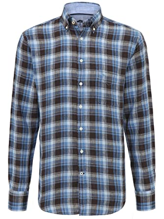 FYNCH-HATTON Herren Freizeit Hemd Leinenhemd 1118-6180-6186 Blau, M
