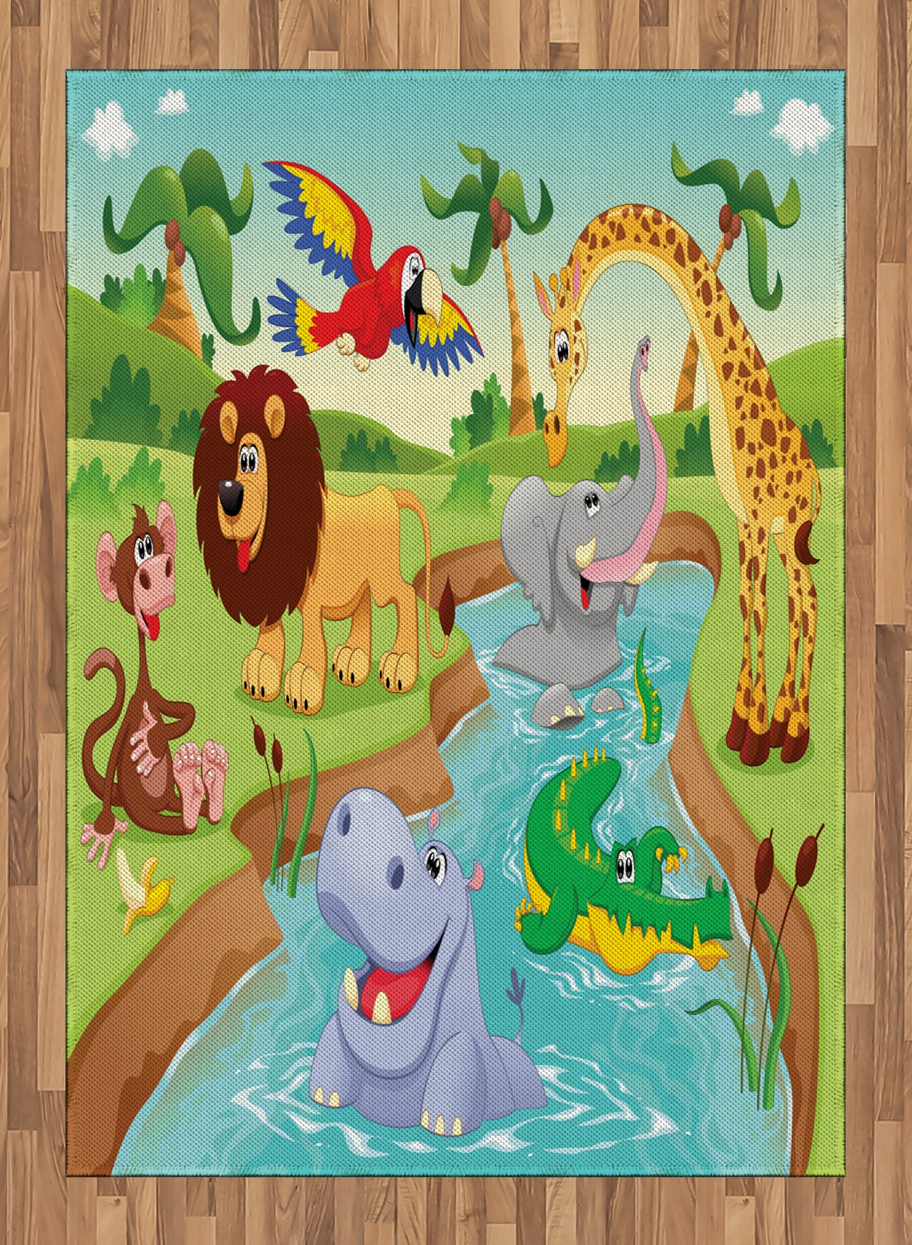 Children Area Rug by Ambesonne, Cartoon Safari African Animals Swimming in the Lake Elephant Lions And Giraffe Art, Flat Woven Accent Rug for Living Room Bedroom Dining Room, 5.2 x 7.5 FT, Multicolor