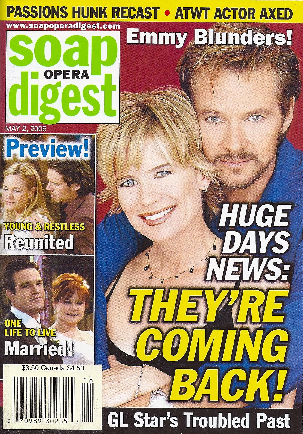 Stephen Nichols Mary Beth Evans Days Of Our Lives Jordan Clarke Emmy Blunders May 2 2006 Soap Opera Digest Magazine American Media Amazon Com Books