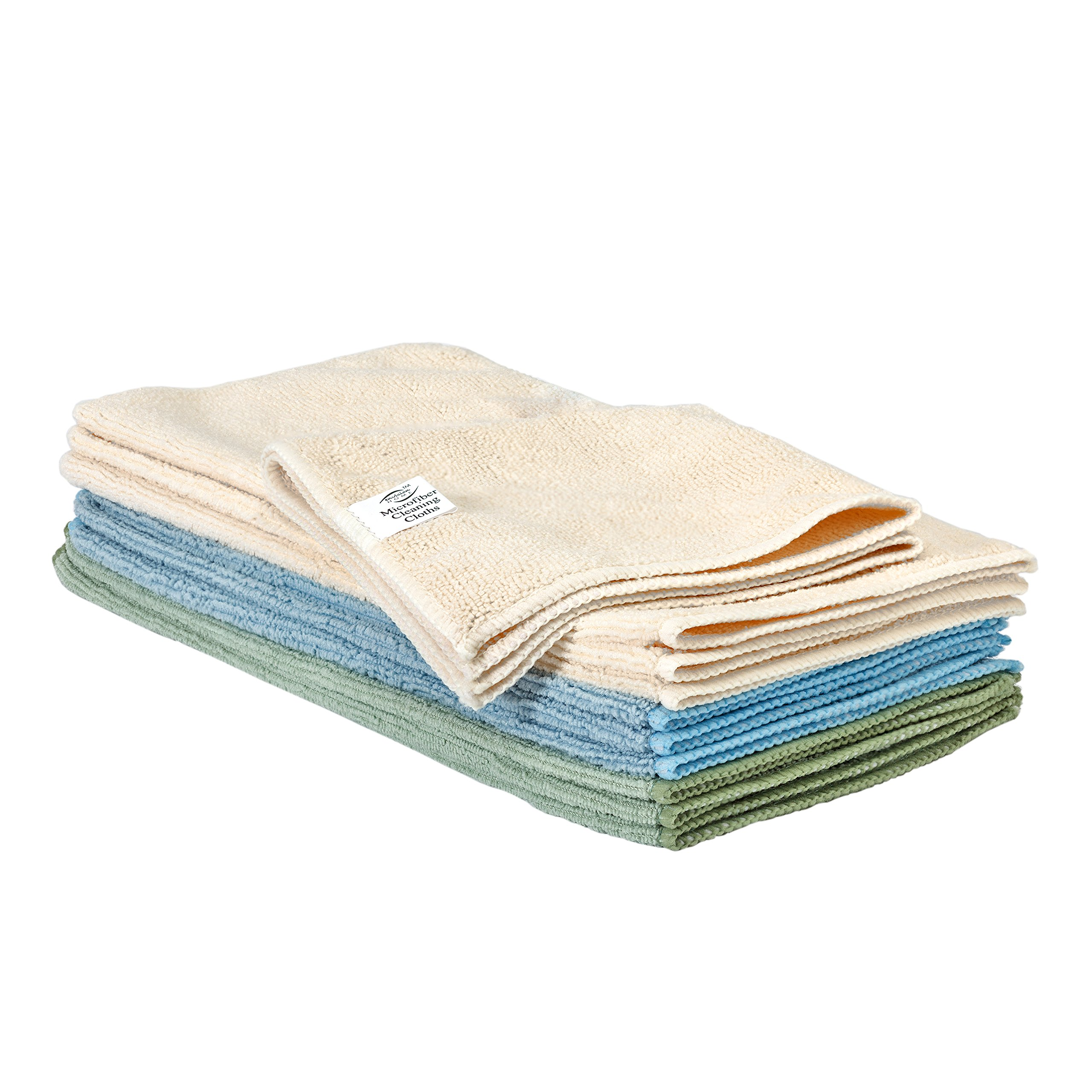 Envision Home 10-Pack Microfiber Cleaning Cloths, 12 by 12-Inch