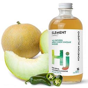 Element Shrub - All-Natural Honeydew Jalapeno Shrub Drink Mix - Uses Apple Cider Vinegar (Organic), Honeydew Melon & Jalapeno Peppers - Organic Apple Cider Vinegar Drink & Cocktail Mix - 16 Ounces