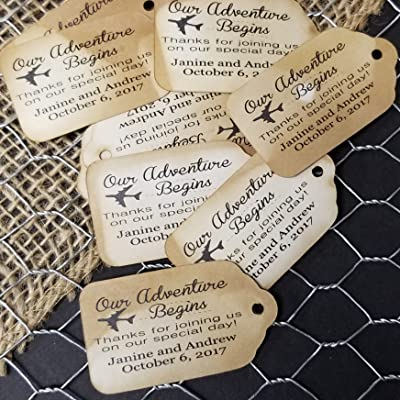 Our Adventure Begins Thanks for joining us on our special day Personalized Tea Stained Favor Tag sets of 25 Tags (SMALL 2