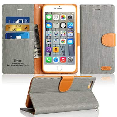 new product 00f1f 18a01 iPhone 6S Case, IPHOX iPhone 6 Flip Case, [Gray] iPhone 6S & 6 Leather Case  with [Cash and Card Slots] [Kickstand] [Magnetic Closure] Premium Folio ...