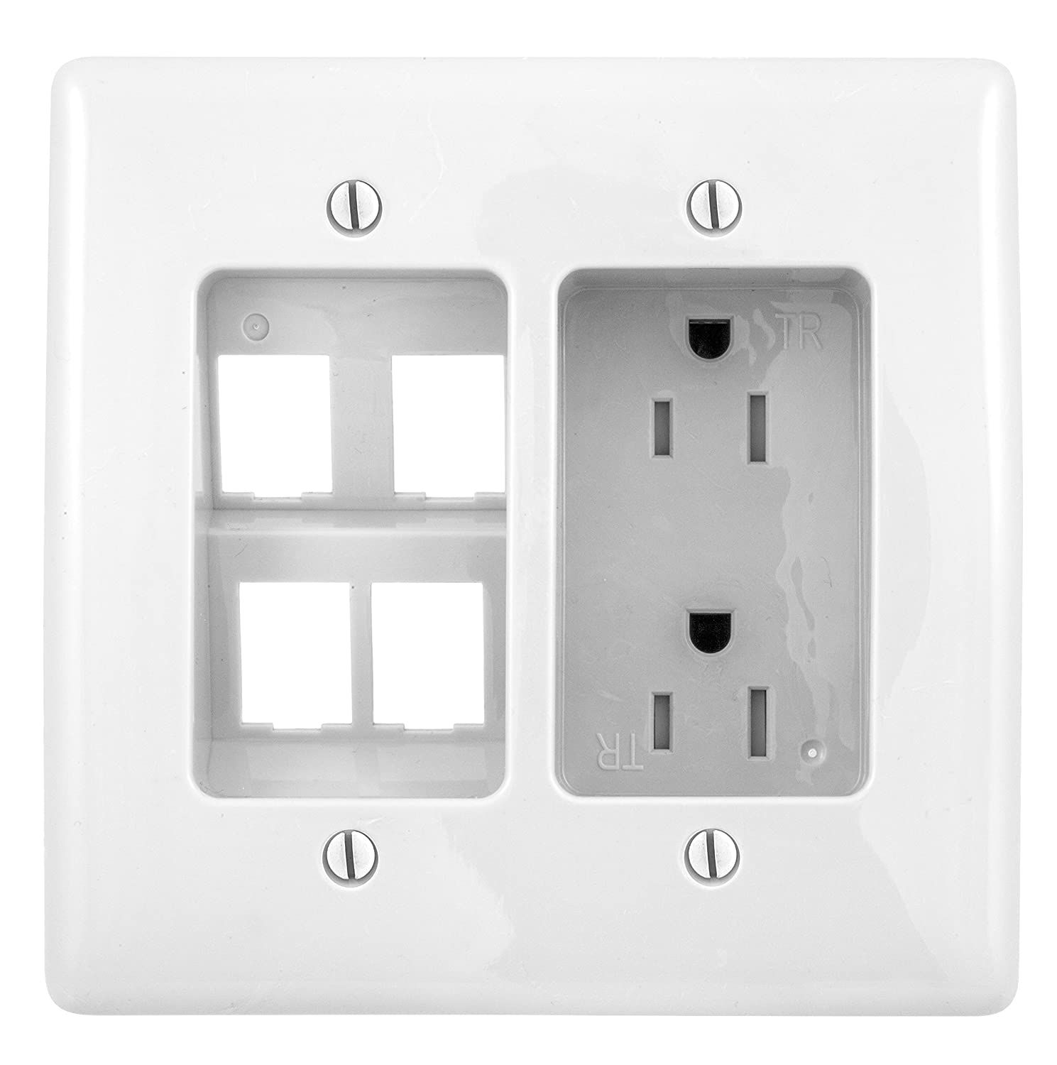 Light Almond Bryant Electric RR1512LA 2-Gang Recessed TV Connection Outlet Plate with 15 Amp 125V Tamper-Resistant Duplex Receptacle with One Pass-Thru Opening
