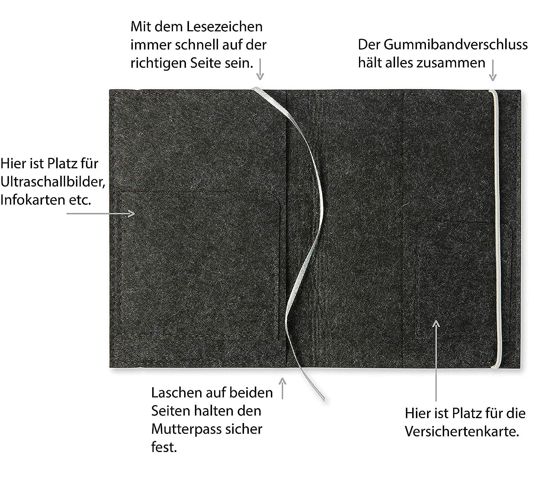 Farbe//Motiv w/ählbar dunkelgrau | Bestickte Design H/ülle f/ür deutschen Mutterpass mit Lesezeichen Mutterpassh/ülle Filz Schnuller