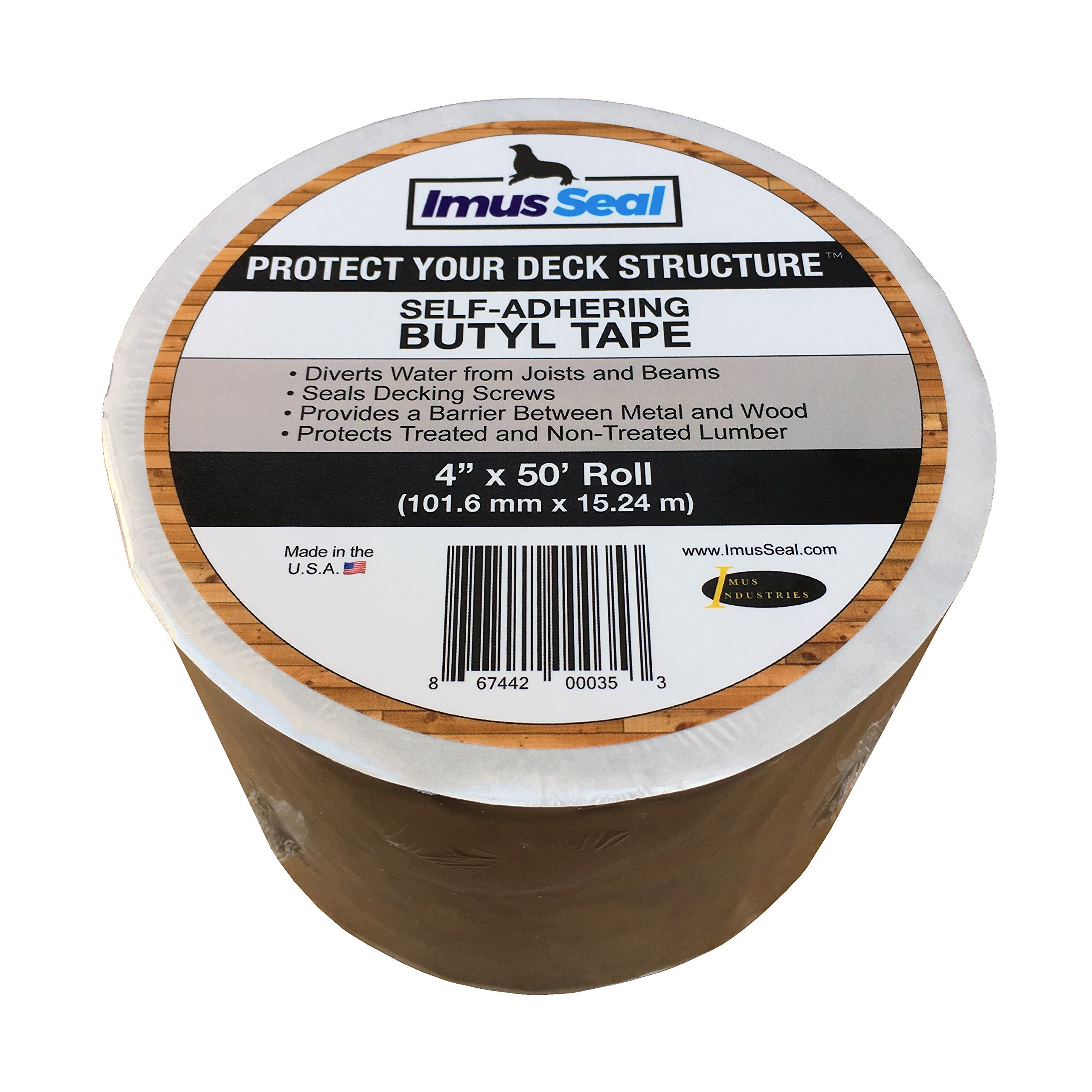 Imus Seal Butyl Tape for Flashing Deck Joists and Beams (4'' x 50' Roll) by Imus Industries, Inc.