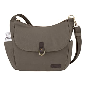 6997c70d7 Amazon.com: Travelon Anti-theft Courier Bucket Hobo Travel Purse, Stone Gray