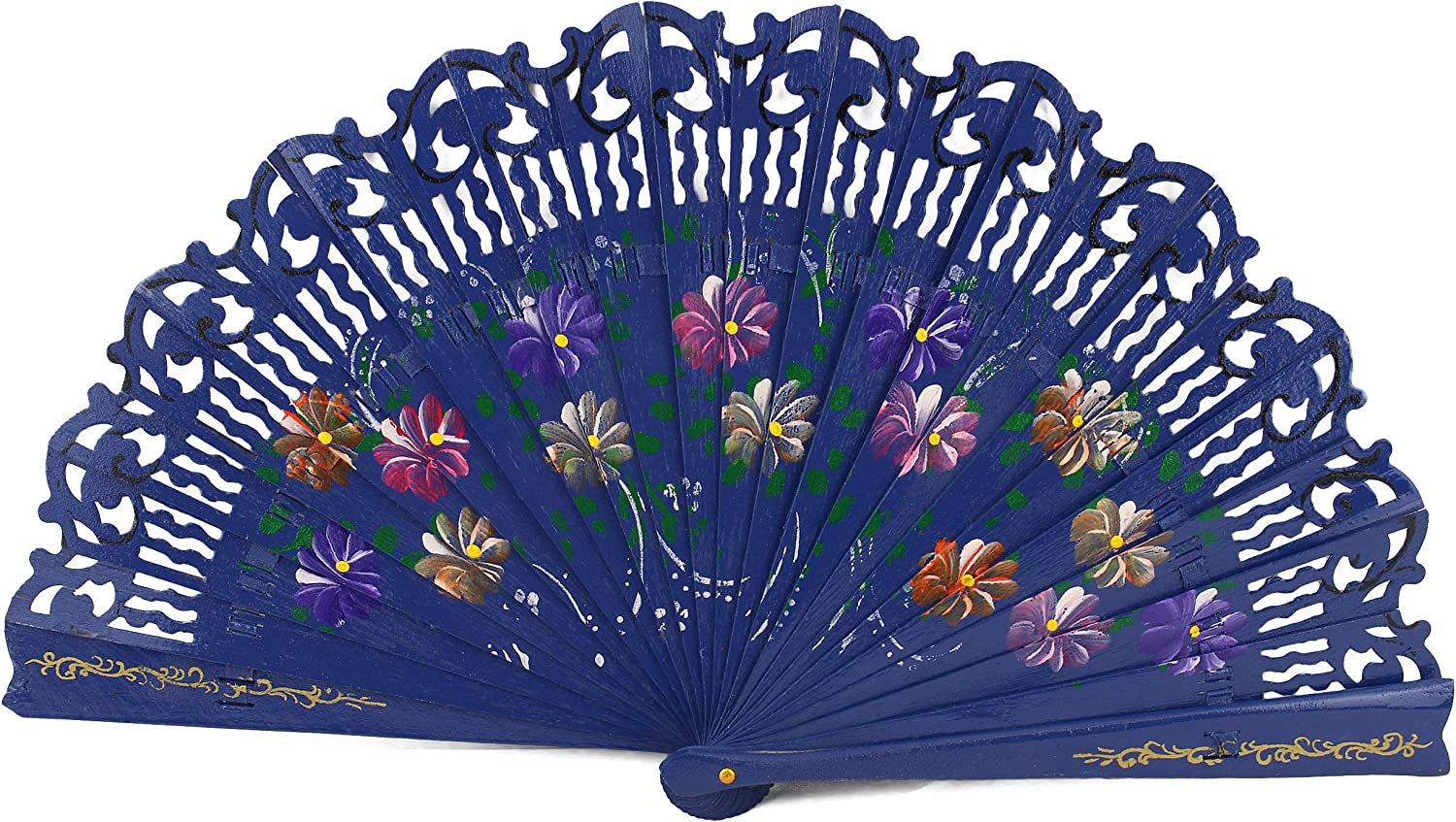 Asian Style Folding Fans Double Sided Wooden Spanish Floral Print Design Hand Fan Party Decoration Gift Idea Indoor Decor (Navy Blue)