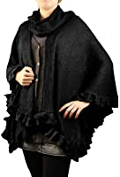 Cold Weather Acrylic Woven Poncho Wrap with Ruffles and Scarf Detail