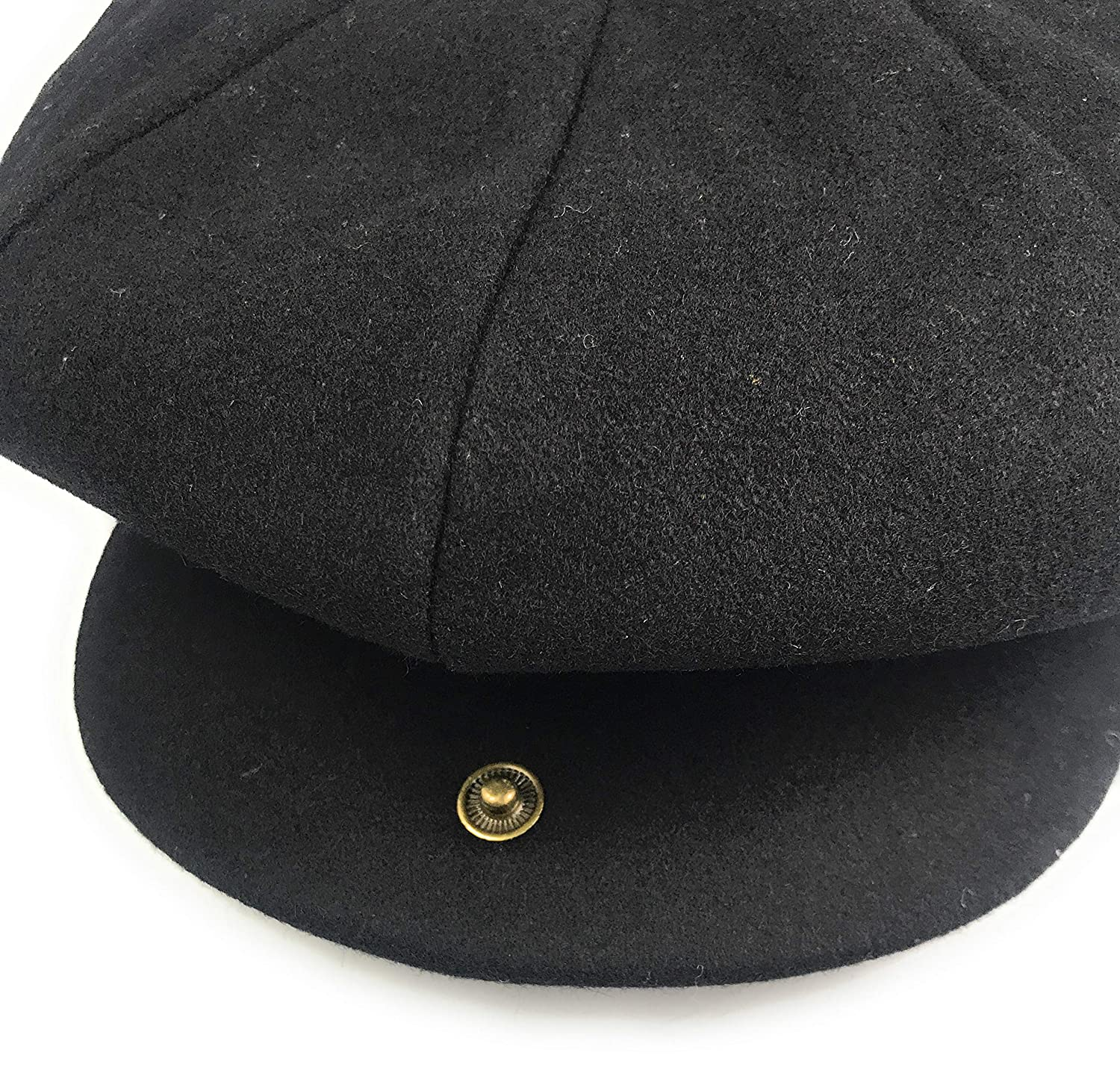 Hats of London Mens Newsboy Cap 8 Panel Black Baker Boy Flat Cap with Snap Button at The Front