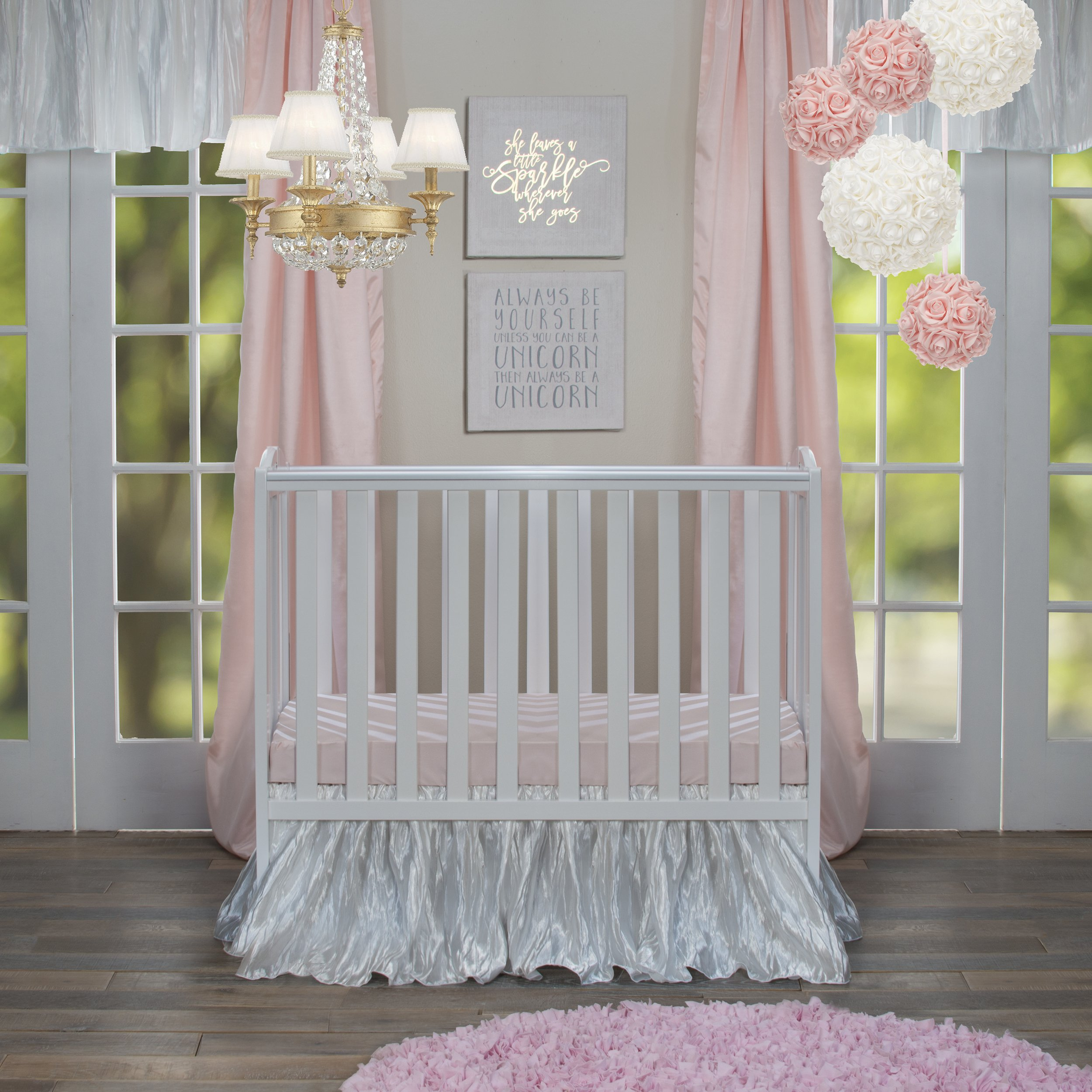 Glenna Jean Lil Princess Mini Crib 2 Piece Bedding Set includes Dust Ruffle and Fitted Sheet, Pink