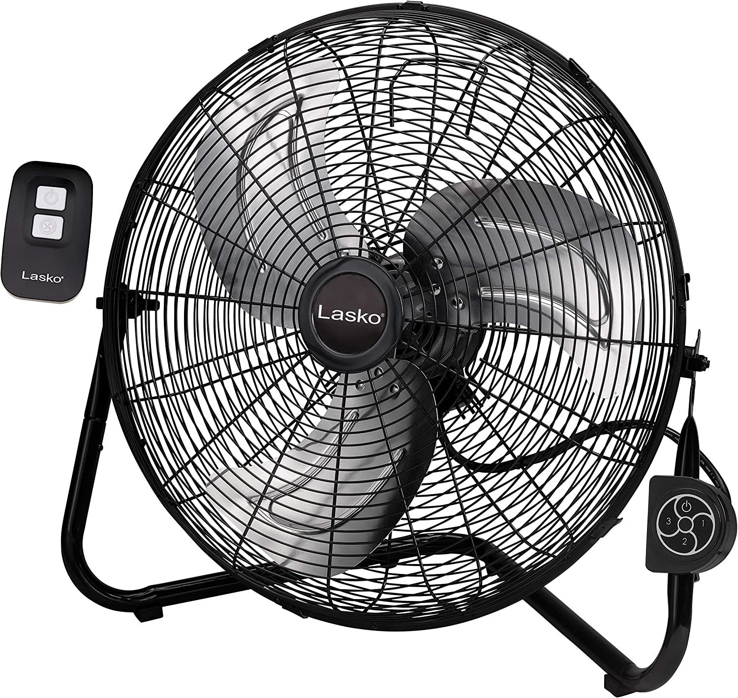 Lasko Metal Commercial Grade Electric Plug-in High Velocity Floor Fan with Wall Mount Option and Remote Control for Indoor Home, Bedroom, Garage, Basement, and Work Shop Use, Black H20660
