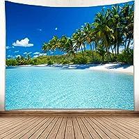 YISURE Tapiz de palmera de coco de verano de playa de 230 x 180 cm, diseño de cielo azul, para piscina y océano, para…