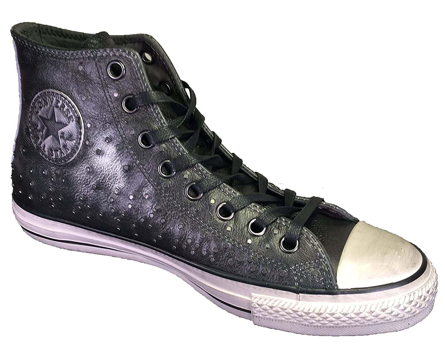 8057f41e0fb7 ... where to buy converse by john varvatos distressed studded leather hi  sneaker silver 3b54f afb6a