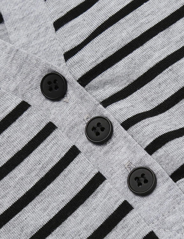9de1ca717401be ... Skione Nachthemd Damen Lang Baumwolle Streifen Knopfleiste V-Ausschnitt  Nachtwäsche Bodenlang Jersey mit Taschen ...