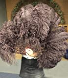 A Pair of Coffee Single Layer Ostrich Feather Fan