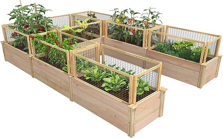 Amazon Com Greenes Fence Premium Cedar Raised Garden Bed 8 Ft X 12 Ft X 16 5 In U Shaped Bed With Critterguard Fencing Garden Outdoor
