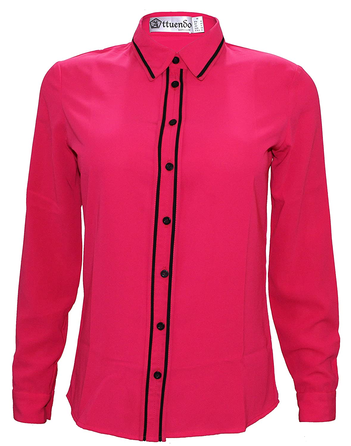 Attuendo Women s Pink Button-Down Shirt with Black Piping at Amazon Women s  Clothing store  122086294