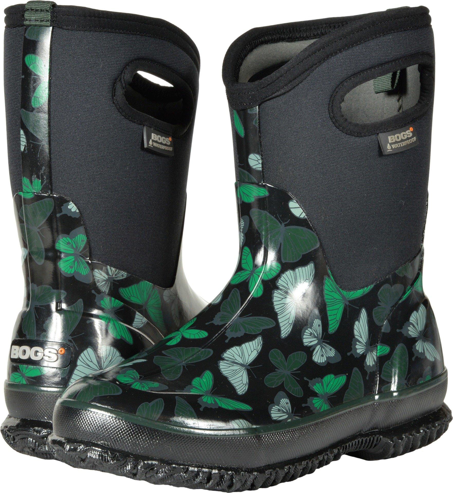 Bogs Women's Classic Butterflies Mid Snow Boot, Black/Multi, 11 M US by Bogs (Image #1)