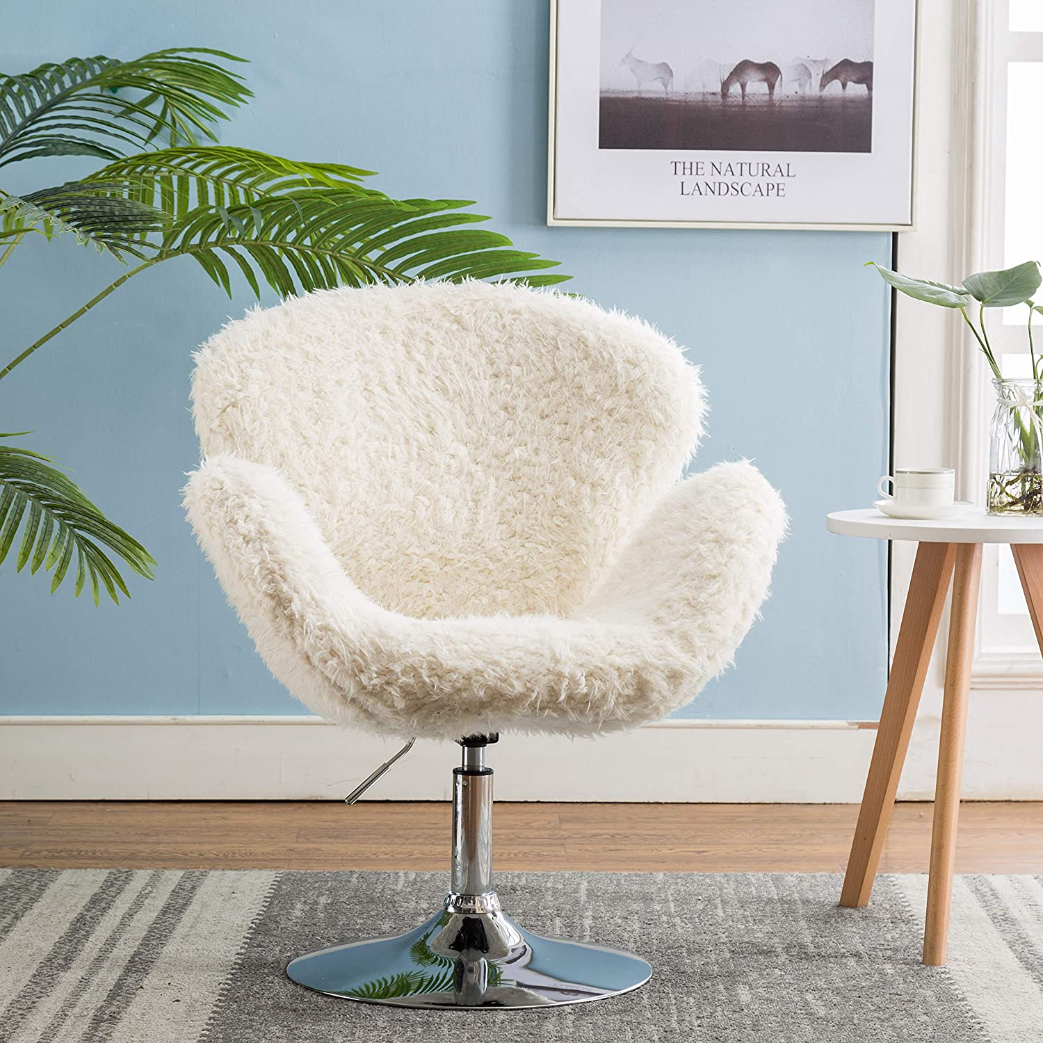 Faux Fur Swivel Makeup Stool, Modern White Swan Chair Curly Hair Fluffy Fuzzy Accent Chair with Armrest