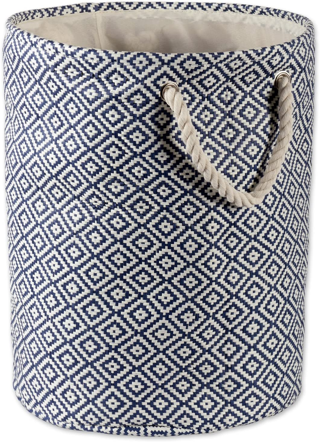 DII Geo Diamond Woven Paper Laundry Hamper or Storage Bin, Large Round, Nautical Blue