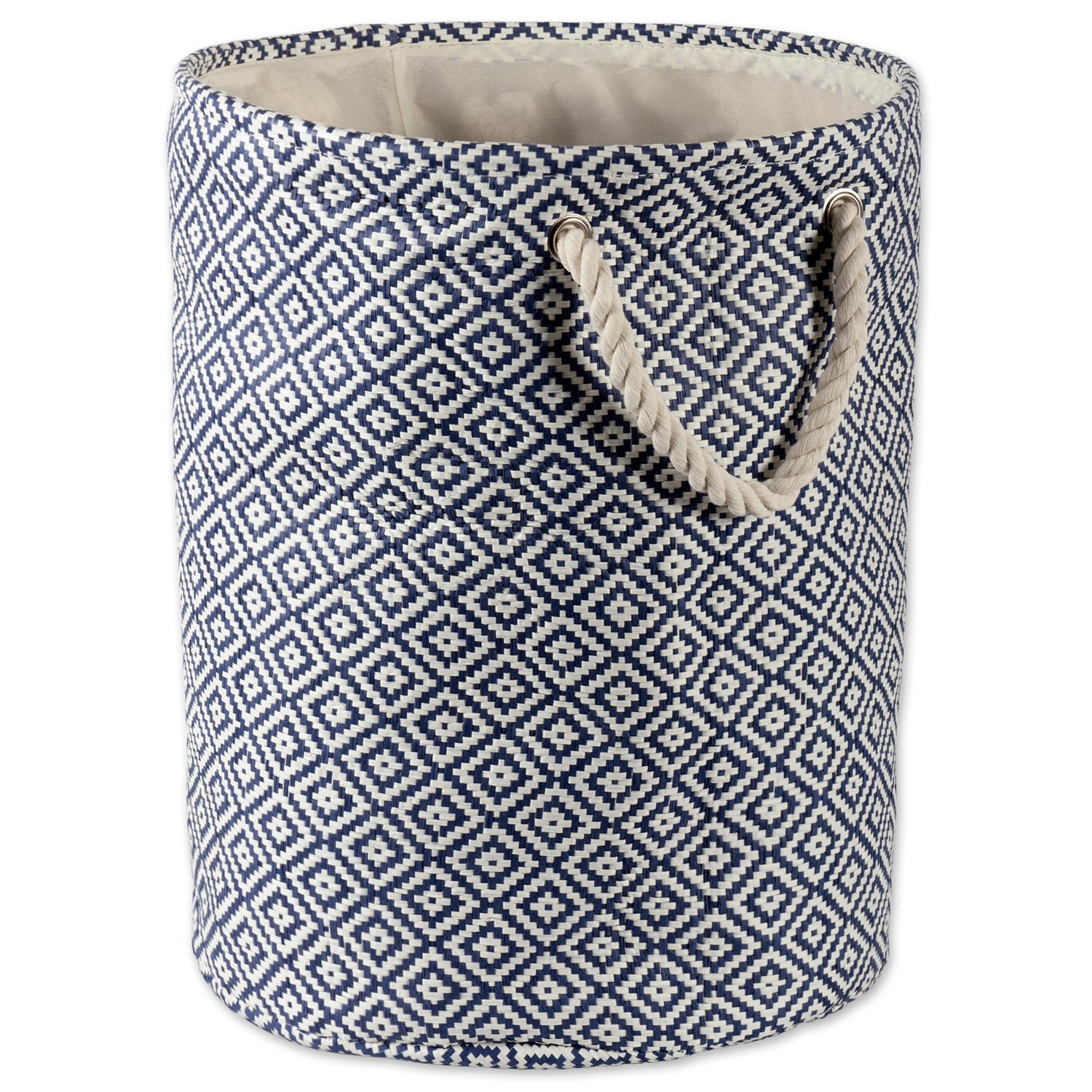DII Woven Paper Basket or Bin, Collapsible & Convenient Organization & Storage Solution for Your Home (Large Round - 15x20) - Nautical Blue Geo Diamond