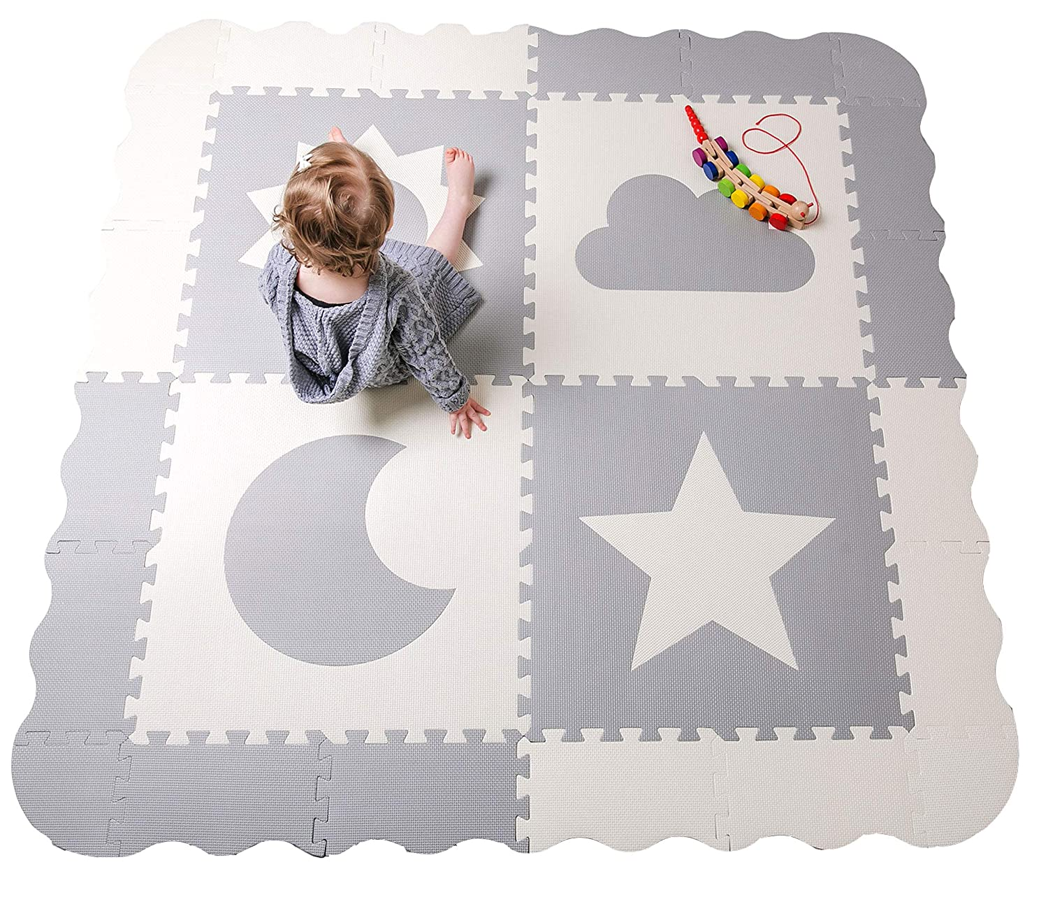 Baby Play Mat Tiles – 61 x 61 Extra Large, Non Toxic Foam Baby Floor Mat – Grey White Interlocking Playroom Nursery Playmat – Safe Protective for Infants Toddlers