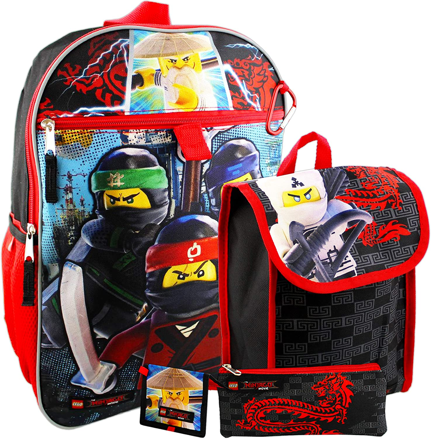 "Fast Forward Lego Ninjago Backpack and Lunch Box Set for Kids Boys Girls -- 5 Pc 16"" Ninjago Backpack, Lunch Bag, Wallet, and More Bundle (Lego Party School Supplies)"