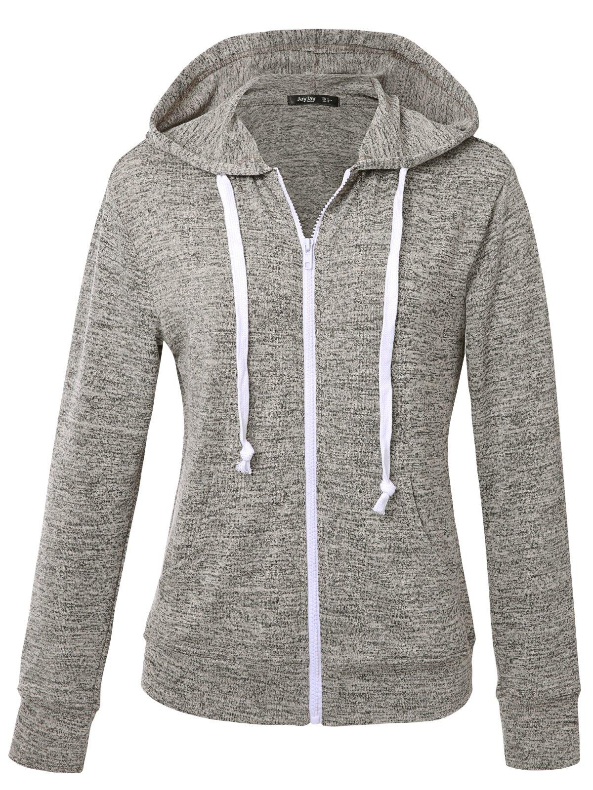 JayJay Women Athlete Stretchy Full Zip Jersey Fashion Running Hoodie Long Sleeve Jacket,KNITGRAY,2XL