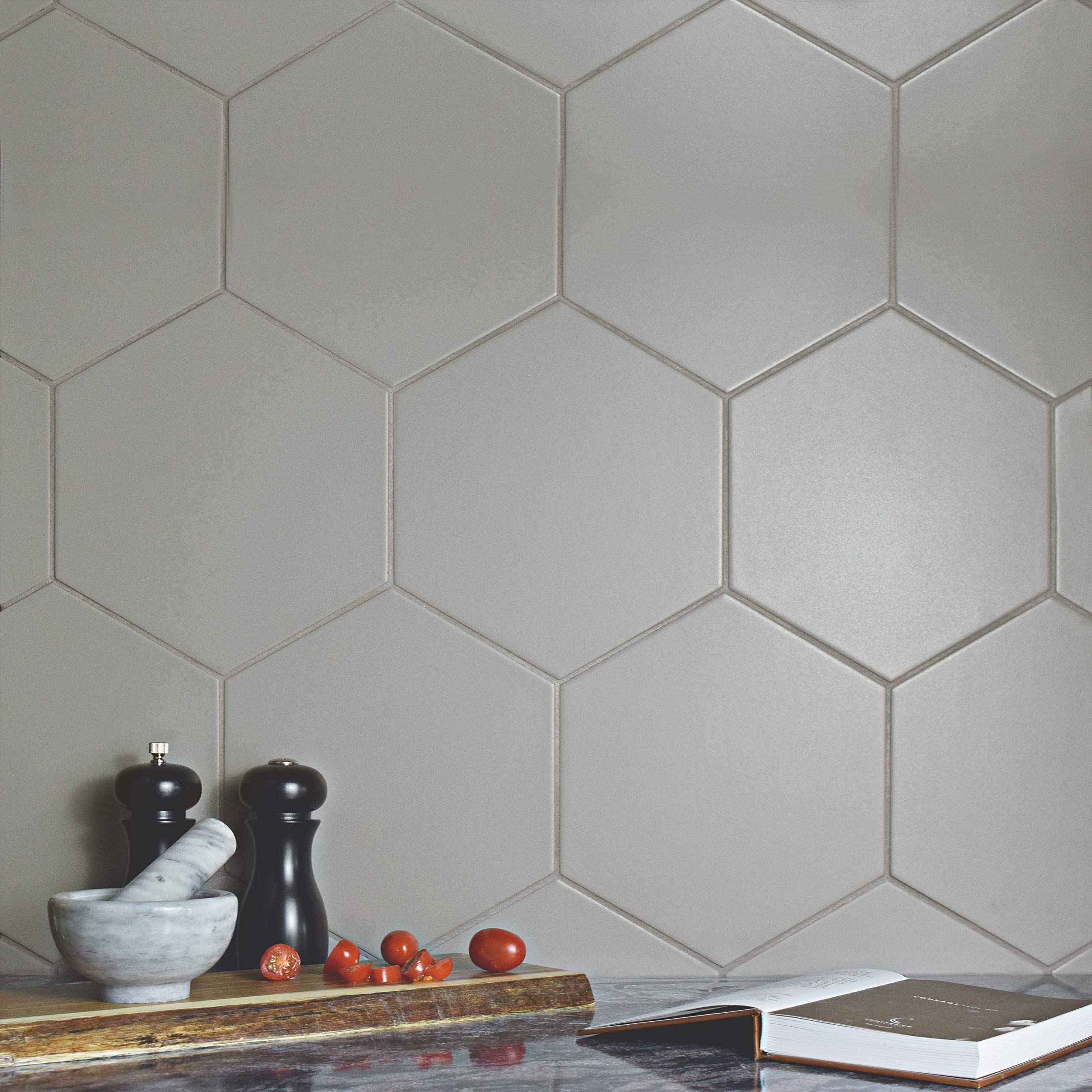 SomerTile FCD10STX Abrique Hex Porcelain Floor and Wall, 8.63'' x 9.88'', Silver Tile 8.625'' x 9.875'' 25 Piece by SOMERTILE (Image #8)