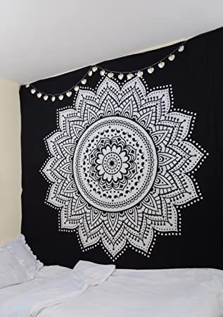 Rawyalcrafts Tapisserie Murale Indienne Motif Mandala 100 Coton
