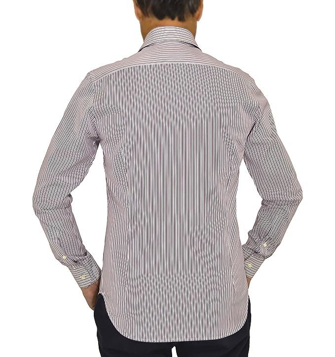 E. MECCI Camisa de Hombre Made in Italy 100% algodón Rayas Rojo y ...