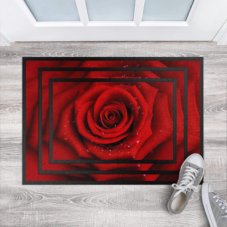Bilderwelten Fußmatte Fußmatte Fußmatte - Rote Rosa mit Wassertropfen, Größe HxB  50cm x 70cm B07K8DRVSK Fumatten 75461d