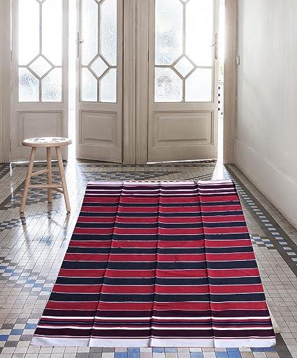 Decornt Premium Cotton Floor Mat/Bhavani Carpet/Dari/Satranji/Dhurrie/Jaipur - Solapur Galicha/Rug, 6x3ft(Multicolour, SK9725) - Set of 1