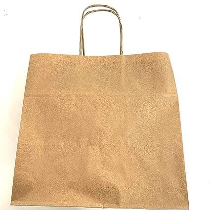 Extiff – Juego de Bolsas de la Compra Papel Kraft marrón con Asas 26 x 17 x 24 cm Bolsa de Course Regalo