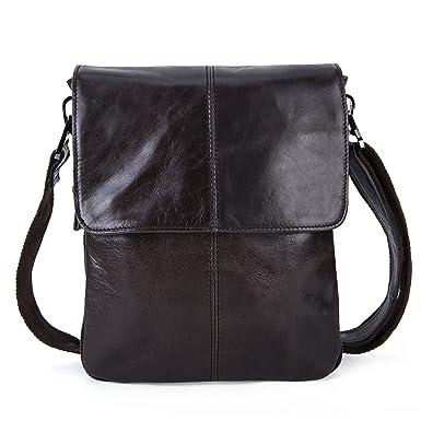 7a33a1cda3 Men s Genuine Cowihde Leather Casual Satchel Crossbody Slim Folding  Shoulder Messenger Bag - Dark Green