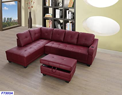 new styles a91d4 e17ee Beverly Fine Funiture CT7303A Sectional Sofa Set, Burgundy