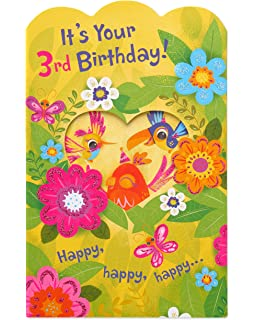 Amazon temporary tattoo valentine cards for kids pkg of 30 american greetings floral 3rd birthday card for girl with glitter m4hsunfo